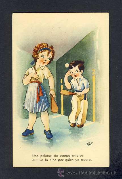 POSTAL ILUSTRADA: UN PELOTARI DE CUERPO ENTERO (ED.TRIO SERIE K) (Postales - Dibujos y Caricaturas)