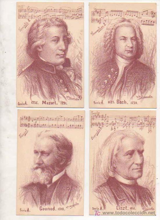 Postales: SERIE COMPLETA DE 10 POSTALES CON RETRATOS DE MÚSICOS, ILUSTRADAS POR R. PALMAROLA. SIN DIVIDIR. - Foto 2 - 25487747