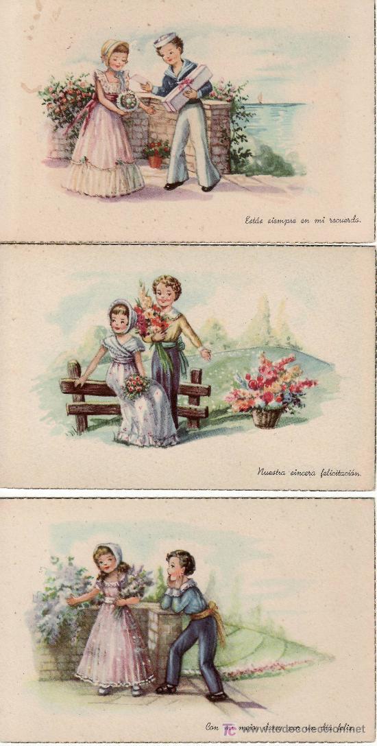 3 POSTALES CON MENSAJE-VEA MAS EN RASTRILLO PORTOBELLO- COLECCIONES EN GENERAL (Postales - Dibujos y Caricaturas)