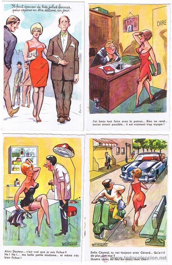 4 POSTALES DE CARICATURAS ERÓTICAS, EDIT. G.PICARD, SIN CIRCULAR (Postales - Dibujos y Caricaturas)