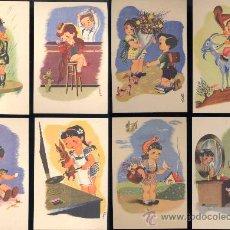 Postales: AÑOS 40. CONJUNTO DE 8 POSTALES DEL DIBUJANTE XAUDARÓ.. Lote 15917115