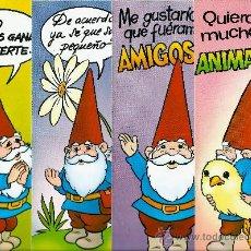 Postales: LOTE DE 4 POSTALES CÓMICAS DE DAVID EL GNOMO, EDITOUR. ALARGADAS CON MENSAJE. MIRAD LA FOTO. Lote 36492410