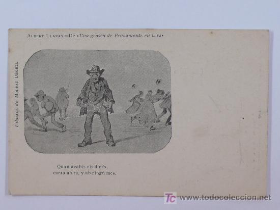 ALBERT LLANAS, DIBUIXOS DE MODEST URGELL. ANTERIOR A 1905. 8,7 X 13,7 CM. (Postales - Dibujos y Caricaturas)