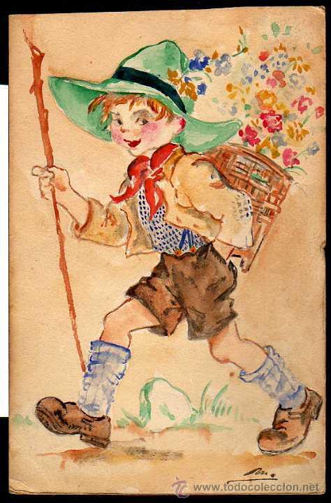 Antigua Postal Dibujo Acuarela Pintado A Mano Vendido En Venta