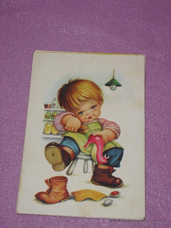 tarjeta postal nio limpiando zapatos  gf  Comprar Postales
