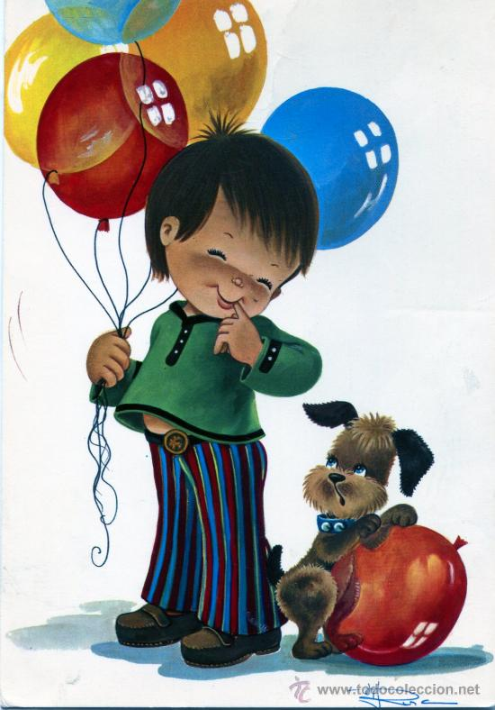 preciosa postal de nio con globos  dibujo fir  Comprar Postales