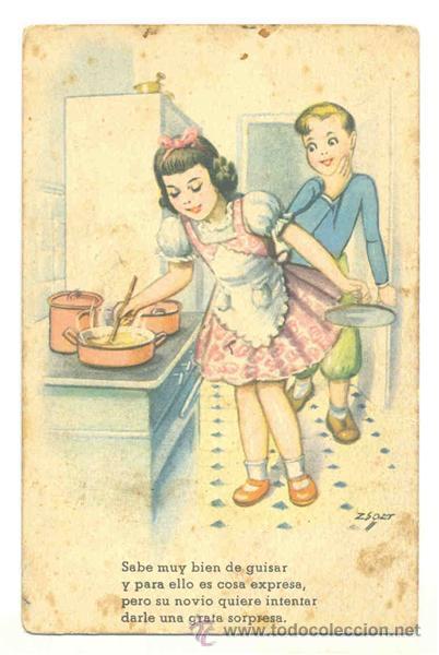 Niños Cocinando Escrita 1952 Comprar Postales Antiguas De