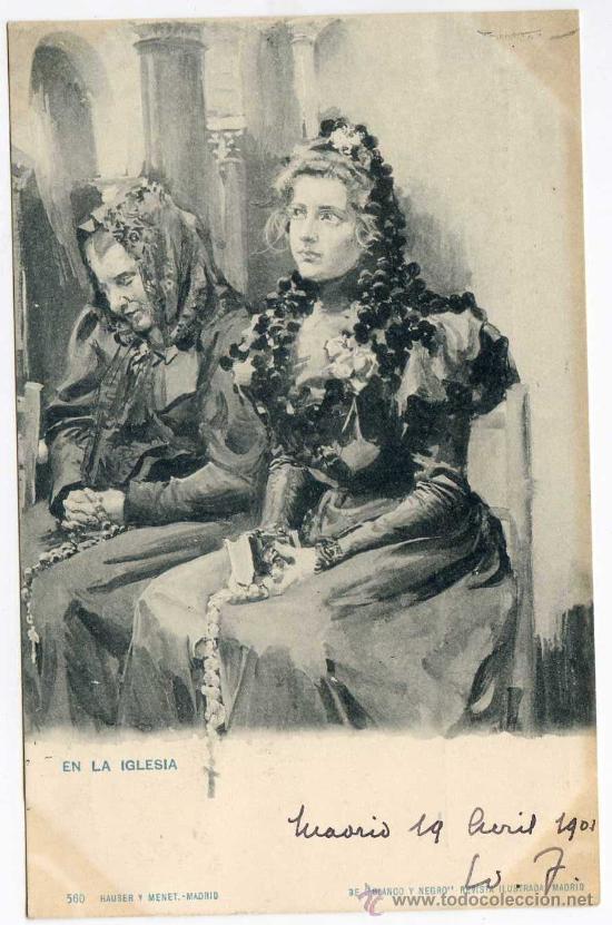 EN LA IGLESIA. HAUSER Y MENET Nº 560. DE BLANCO Y NEGRO. CIRCULADA EN 1901 (Postales - Dibujos y Caricaturas)