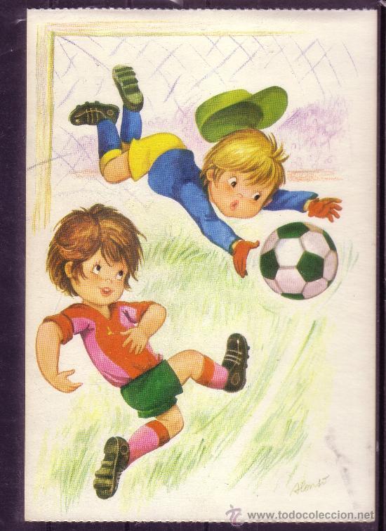 Preciosa Postal De Dibujos De Ninos Jugando Al Comprar Postales