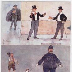 Postales: LOTE DE 2 POSTALES EDITADAS POR RAPHAEL TUCK& SON. SERIE AQUARETTE. RESISTENCIA PASIVA. AÑOS 1920. Lote 26831307