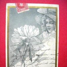 Postales: POSTAL ANTIGUA - MUJER FLOR. Lote 23821173
