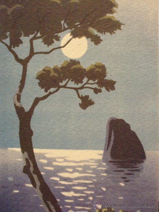 bonita postal dibujo paisaje de luna llena e  Comprar Postales