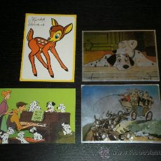 Postales: LOTE 4 POSTALES - WALT DISNEY - POSTAL DALMATAS - BAMBI - AÑOS 60/70. Lote 25512286