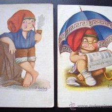 Postales: LOTE 2 POSTALES J IBAÑEZ POSTAL ILUSTRADA CARICATURA MARINER AÑO 1920 VICTORIA COLL SALIEN BARCELONA. Lote 25741351