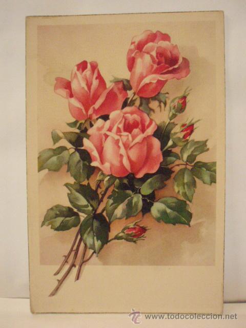 Bonita Postal Dibujo Ramo De Rosas Ed Españ Vendido En Venta