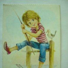 Postales: POSTAL DIBUJO ALONSO. BERGAS. ESCRITA Y CIRCULADA. Lote 27311181