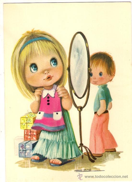 28436 postal dibujo ni a en el espejo ilus comprar - Espejo irrompible ninos ...