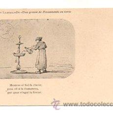 Postales: ALBERT LLANAS. DIBUIXOS DE MODEST URGELL. 'UNA GROSSA DE PENSAMENTS EN VERS'. . Lote 28750494