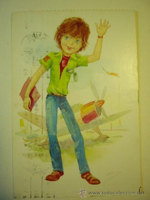 POSTAL ILUSTRADA . BERGAS. ESCRITA Y CIRCULADA (Postales - Dibujos y Caricaturas)