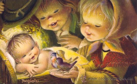Navidad por ferrandiz comprar postales antiguas de - Dibujos tarjetas navidenas ...