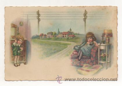 POSTAL ILUSTRADA. NIÑOS HABLANDO POR TELEFONO. (Postales - Dibujos y Caricaturas)
