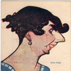 Postales: JULIA FONS -ACTRIZ Y CANTANTE- (BIOGRAFÍA AL DORSO).- CARICATURA DE MANUEL TOVAR DE 1918.-. Lote 53518627