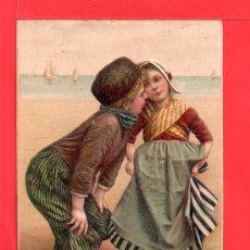 Postales: POSTAL PAREJA EN RELIEVE CIRCULADA EL AÑO 1909 VER FOTO ADICIONAL. Lote 29285750