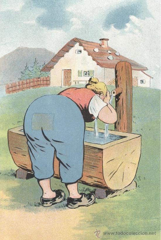 CAMPESINA CULONA. POSTAL ALEMANA, COLORES, SIN CIRCULAR, C. 1910. (Postales - Dibujos y Caricaturas)