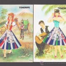 Postales: LOTE DE 2 POSTALES BORDADAS DE TENERIFE - EDICIONES SOLYNIEVE. Lote 30323297