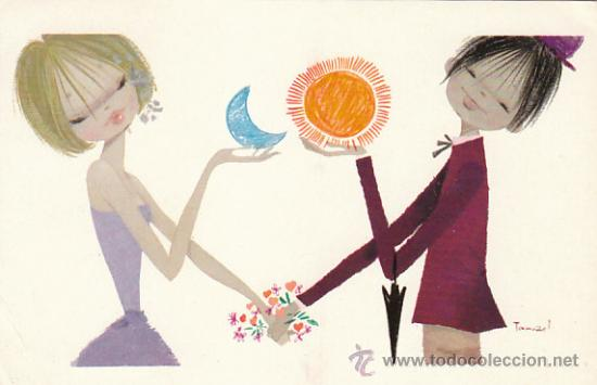 Pareja De Enamorados Sol Y Luna Dibujo Firma Vendido En Venta