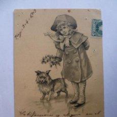 Postales: ANTIGUA POSTAL; NIÑA CON PERRITO, ESCRITA EN CASTELLANO CON SELLO 1903. (VER FOTOS). Lote 31030599