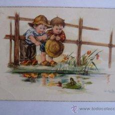 Postales: POSTAL; 2 NIÑOS MIRANDO EL LAGO, ESCRITA EN CASTELLANO SIN SELLO (VER FOTOS) 1959. Lote 31030890