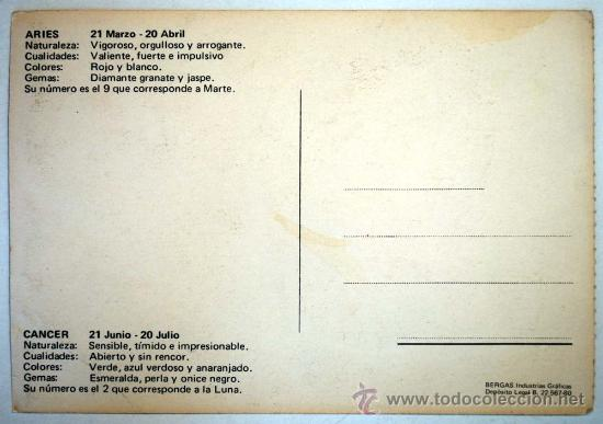 Postales: POSTAL HOROSCOPO. ARIES Y CANCER. DIBUJANTE ALONSO. - Foto 2 - 31707431