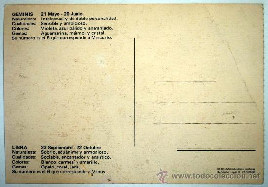 Postales: POSTAL HOROSCOPO. GEMINIS Y LIBRA. DIBUJANTE ALONSO. - Foto 2 - 31707465