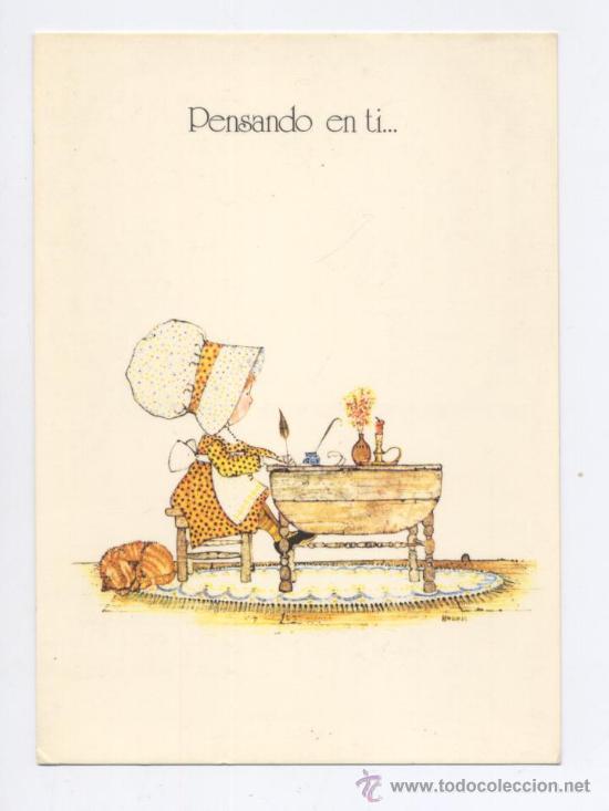 POSTAL *HOLLY HOBBIE* - PENSANDO EN TI... - 1977 (Postales - Dibujos y Caricaturas)