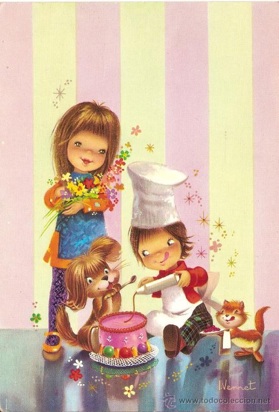Ilustrador Vernet Niños Cocinando Un Pastel Vendido En Venta