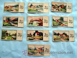10 PEQUEÑAS POSTALES DE FELICITACIÓN - AÑOS 50 - ILUSTRA ROGELIO LOPEZ - MEDIDAS: 11,5 X 5,8 CM (Postales - Dibujos y Caricaturas)