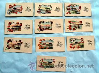10 PEQUEÑAS POSTALES DE FELICITACIÓN - AÑOS 50 - PAISAJES Y MARINAS - MEDIDAS: 11,5 X 5,8 CM (Postales - Dibujos y Caricaturas)