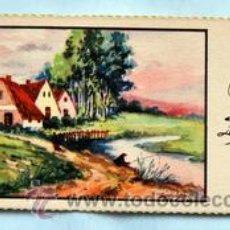 Postales: PEQUEÑA POSTAL DE FELICITACIÓN -AÑOS 50- PAISAJE ILUSTRADA ROGELIO LÓPEZ - MEDIDAS: 11,7 X 5,5 CM. Lote 33320494