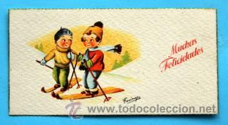 PEQUEÑA POSTAL DE FELICITACIÓN -AÑOS 50- ILUSTRA FARINYES - ESQUIADORES - MEDIDAS: 11,5 X 5,5 CM (Postales - Dibujos y Caricaturas)