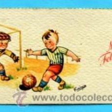 Postales: PEQUEÑA POSTAL DE FELICITACIÓN -AÑOS 50- ILUSTRA FARINYES - FUTBOL - MEDIDAS: 11,5 X 5,5 CM. Lote 33321618