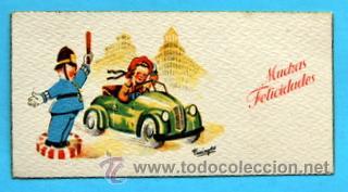 PEQUEÑA POSTAL DE FELICITACIÓN -AÑOS 50- ILUSTRA FARINYES - MEDIDAS: 11,5 X 5,5 CM (Postales - Dibujos y Caricaturas)