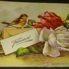 Postales: ANTIGUA POSTAL ROMANTICA COMICA FLORES PAJARO FELICIDADES ESCRITA A MURCIA 1958. Lote 34975439