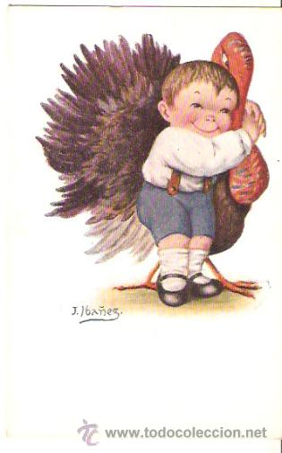 Postal Ilustrada Niño Con Pavo Ed Victoria Comprar Postales