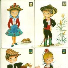 Postales: 6099I - LOTE DE 22 POSTALES REGIONALES BORDADAS - ESCUDO DE ORO - ILUSTRA CASTAÑER. Lote 36668382
