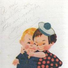 Postales: POSTAL DE UNOS NIÑOS DANDOSE UN FUERTE ABRAZO - FIEL A LA MARINA DE E,C,TALLER ZORRILA BILBAO. Lote 37390689