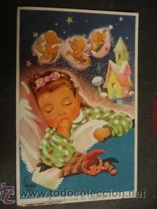 Soñando Con Los Angelitos Comprar Postales Antiguas De Dibujos Y