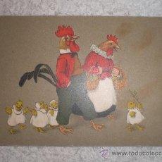 Postales: POSTALES CON GALLO, GALLINA Y POLLUELOS CIRCULADA 1920. Lote 38317874