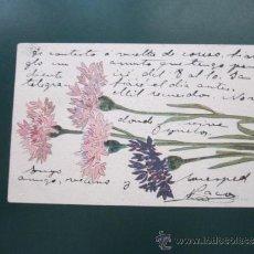 Postales: POSTAL CON DIBUJO DE FLORES, ESCRITA POR DELANTE Y POR DETRÁS 14 X 9 CMS. Lote 38837393