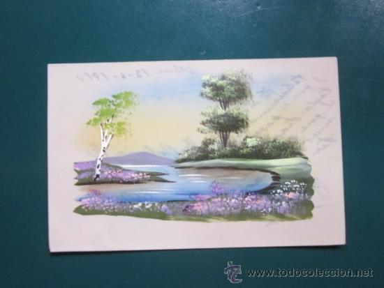 Dibujos De Paisajes En Color: Postal Con Dibujo De Paisaje A Color, Escrita P